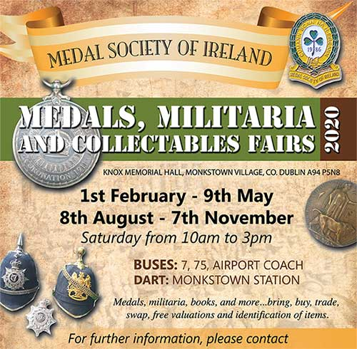 MILITARIA AND MEDAL FAIRS TO BE HELD AT THE KNOX MEMORIAL HALL, MONKSTOWN IN 2020